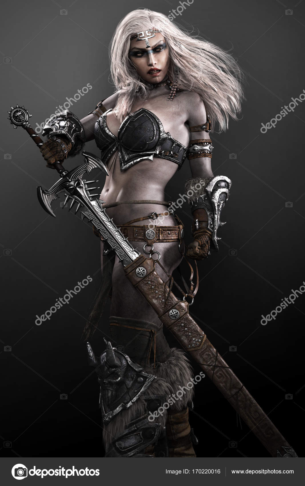 barbarian warrior witch woman in armor with sword stock photo