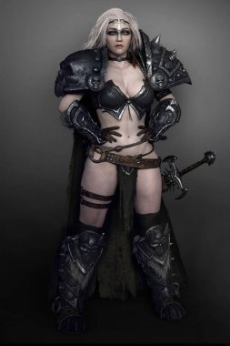 Barbarian Warrior Witch Woman in Armor with Sword