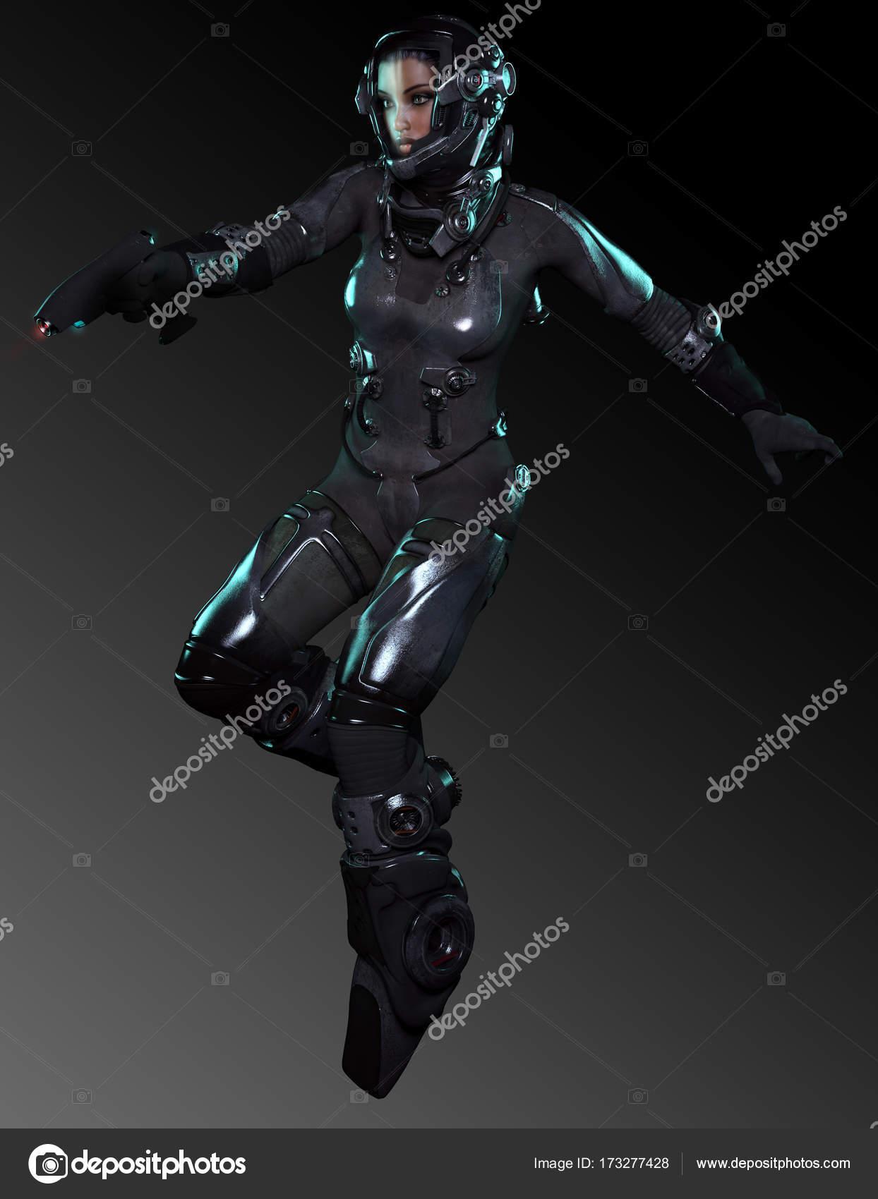 beautiful woman astronaut in sci fi space suit � stock