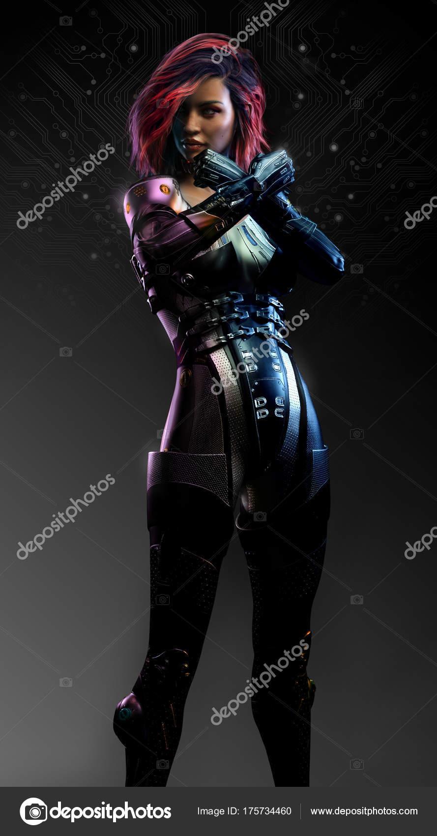 Sexy Cuir Posture Assassin Sci Femme Photographie — Combat Noir BoWrCedx