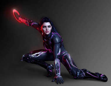 Sexy Sci Fi Assassin Woman in Black Leather with Cyber Ring Weapon