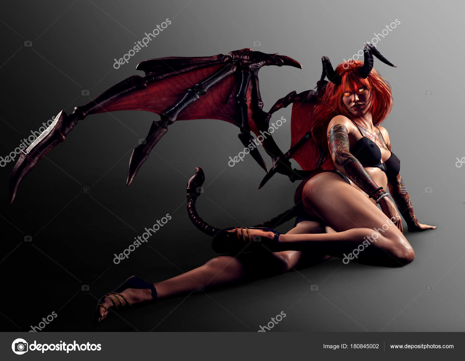 Pictures: demon and names | Sexy Demon Girl Wings Pinup Pose