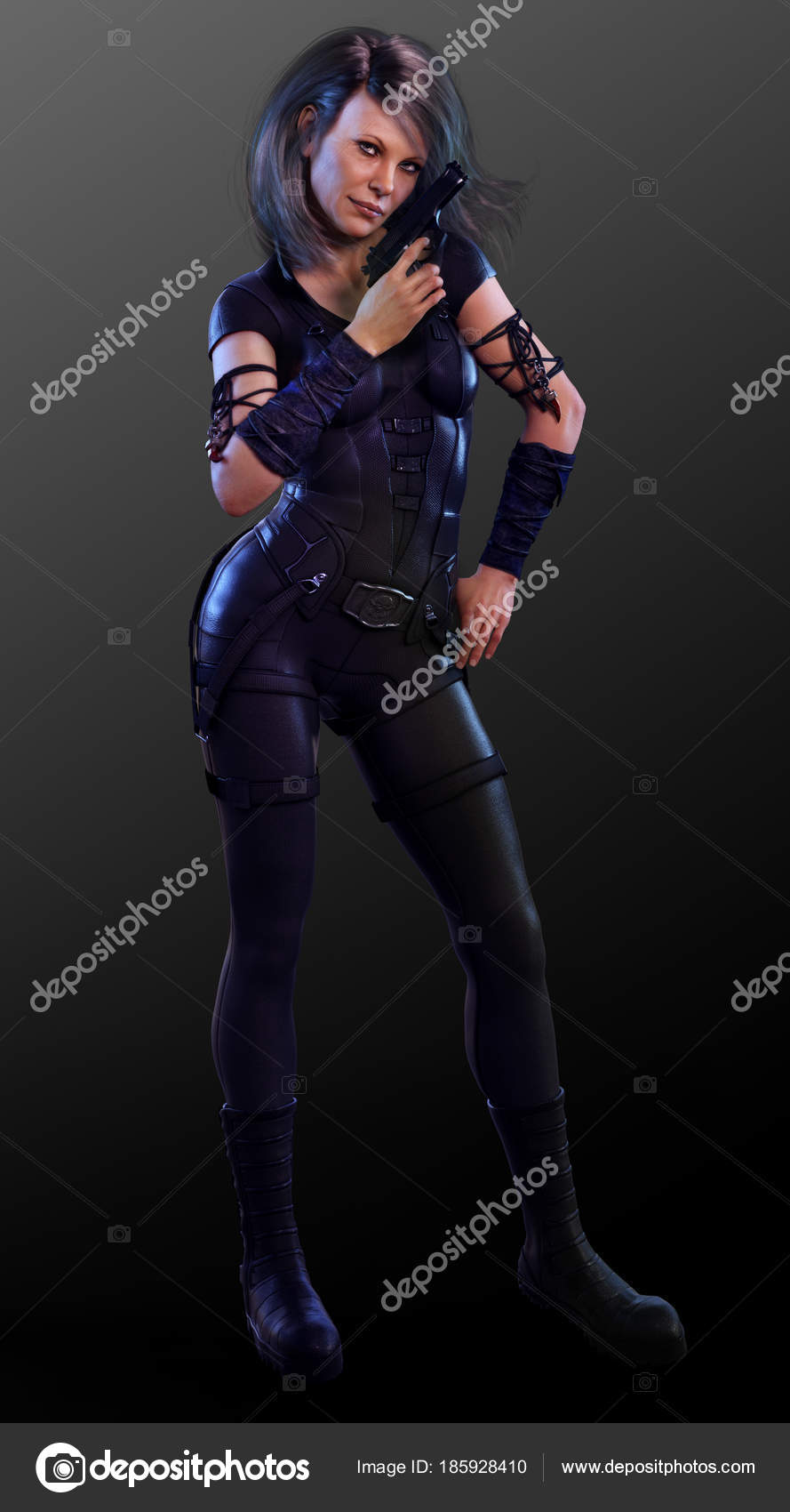 sexy mature female assassin black leather pistol — stock photo