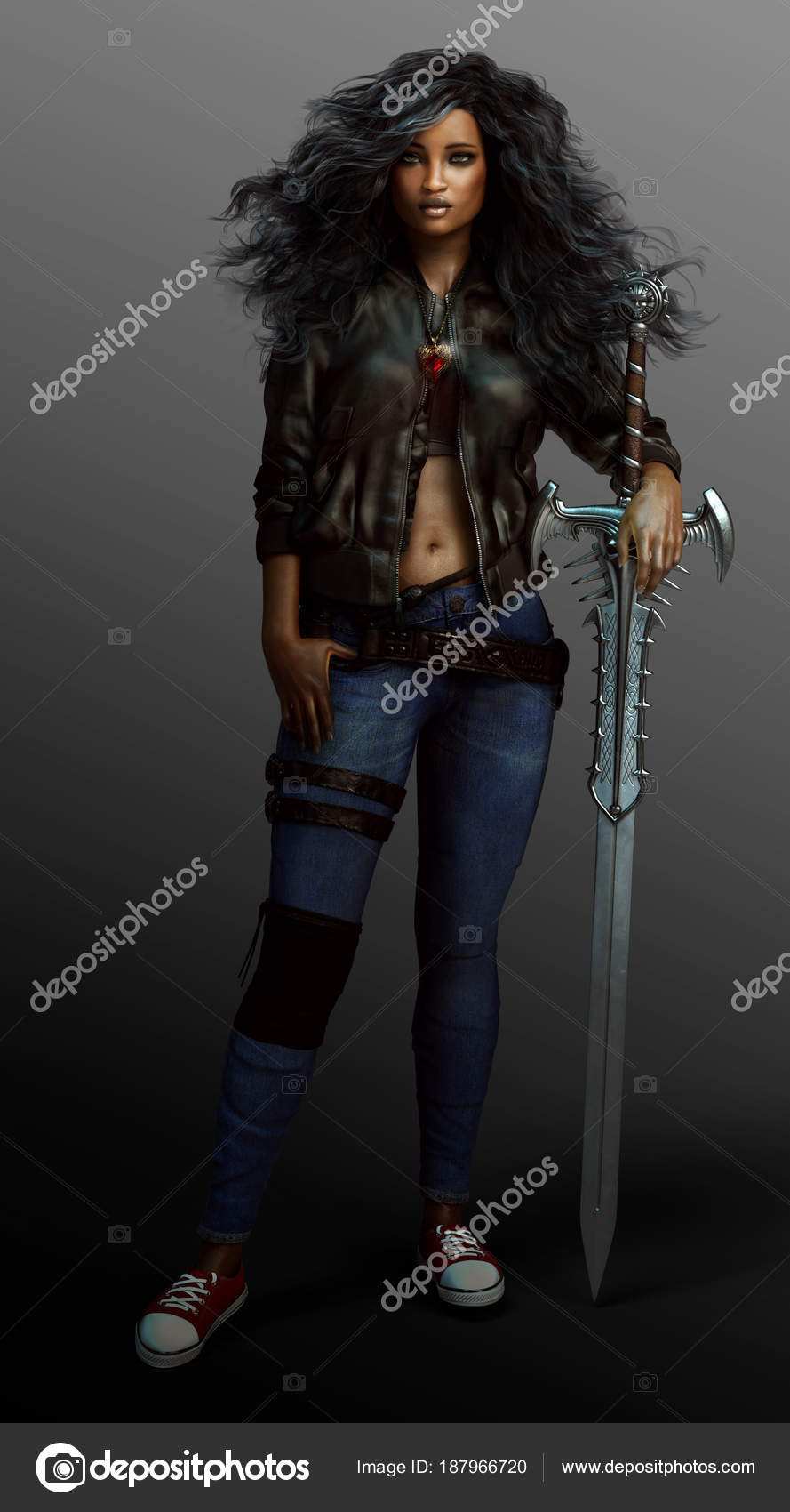 36969d8ef767e Fantasía Urbana Chica Guerrera Tiradas Con Espada — Foto de Stock