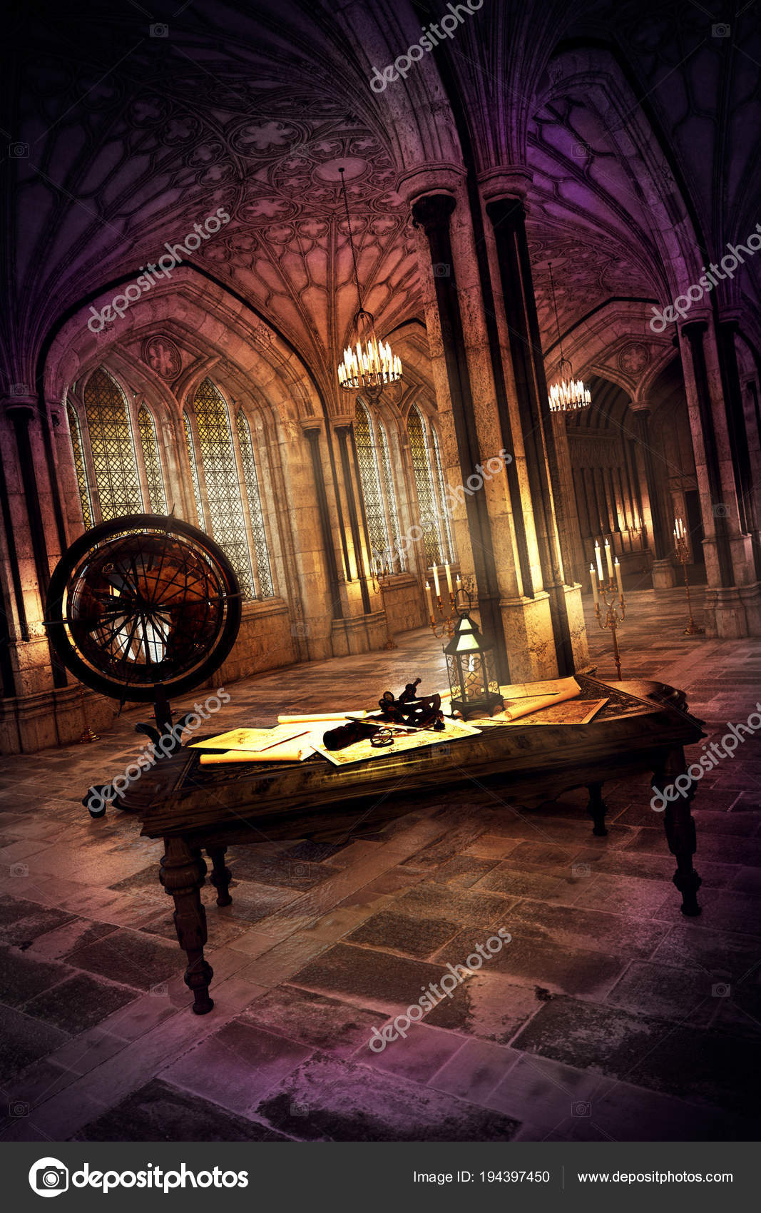 Cgi Illustration Fantasy Castle Desk — Stock Photo © Ravven