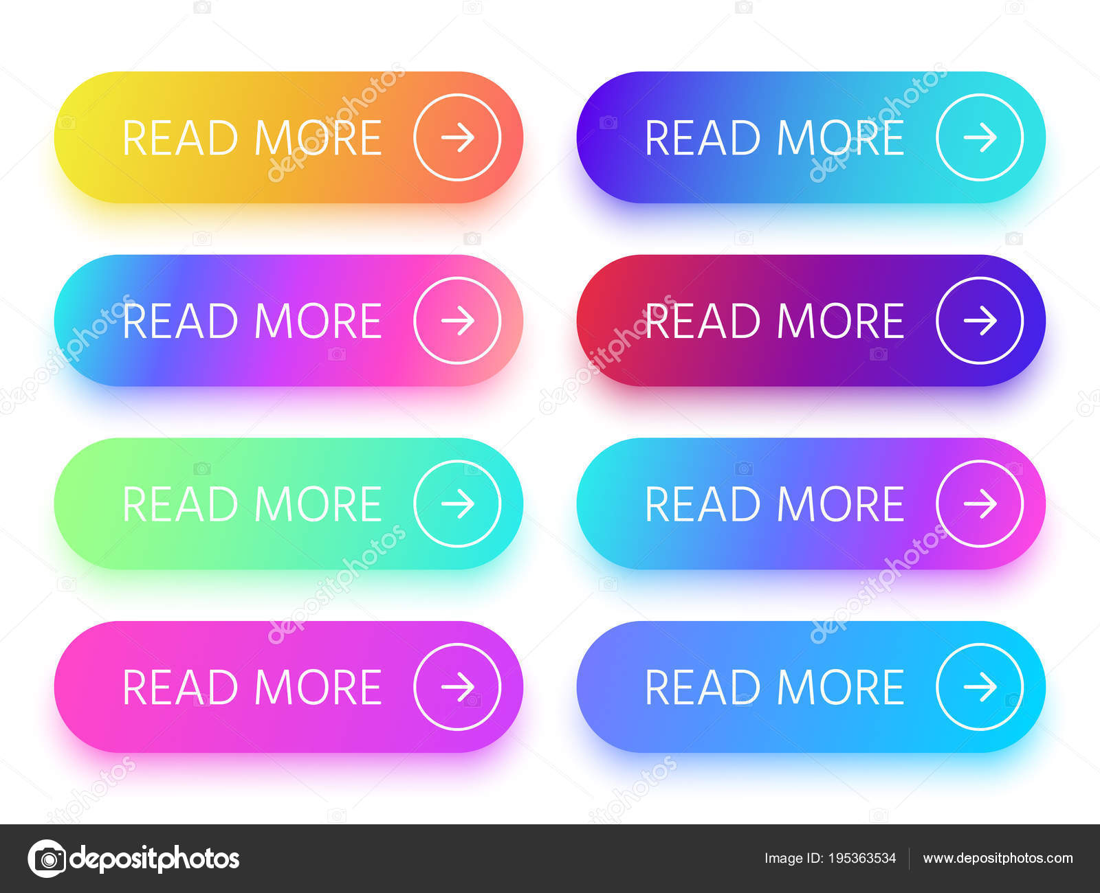 9dc478f9e8e Πολύχρωμα κουμπιά με Διαβάστε περισσότερα σημάδι και βέλος εικονίδιο.  Κουμπί προτροπής με έντονα ντεγκραντέ απομονωμένες