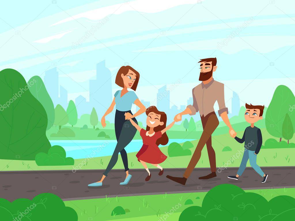 Animado Paseo Familiar Feliz De Dibujos Animados Padre