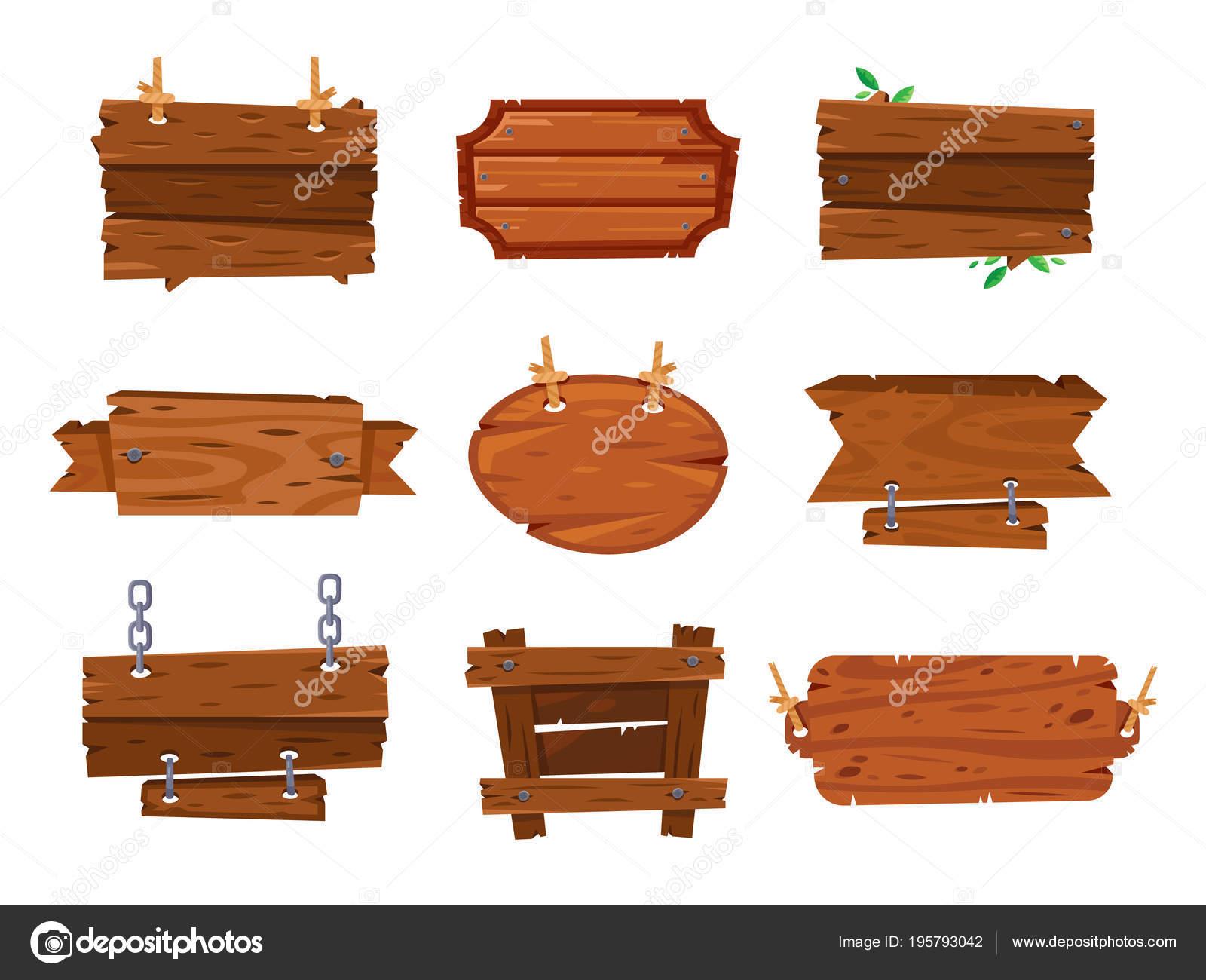 Signos de tableros de madera de dibujos animados y banners de madera ...