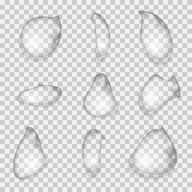 Set of transparent drops of the water