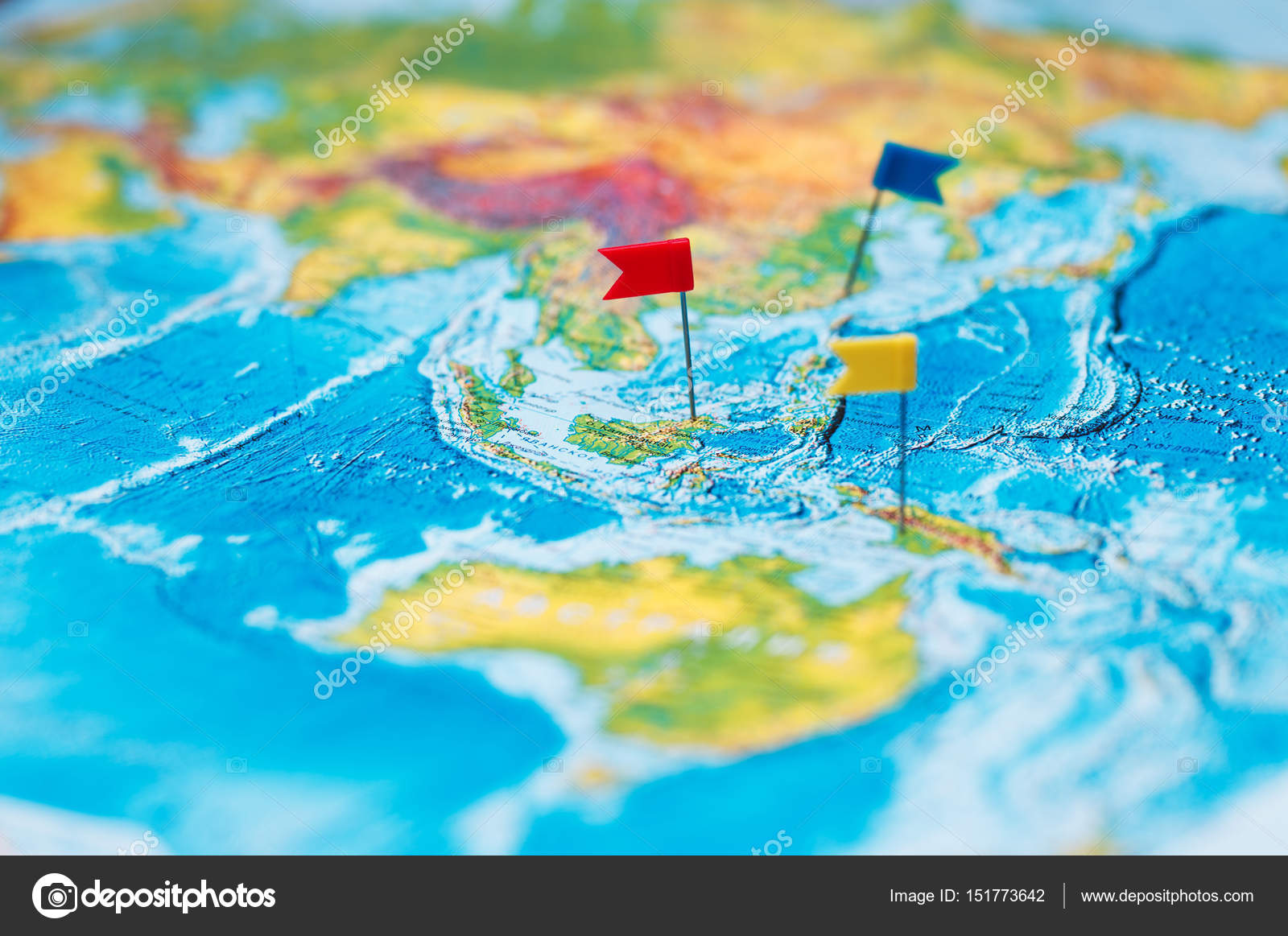 Travel concept with flag pushpins and world map stock photo travel concept with flag pushpins and world map stock photo gumiabroncs Images