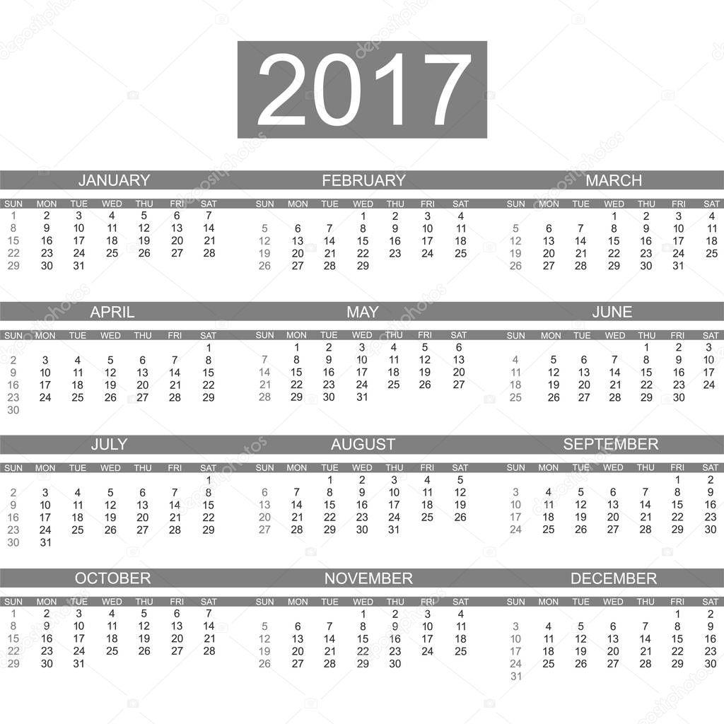 1166d05a01b0 Kalendář 2017 anglický styl jednoduché tmavě šedá — Stock Vektor ...