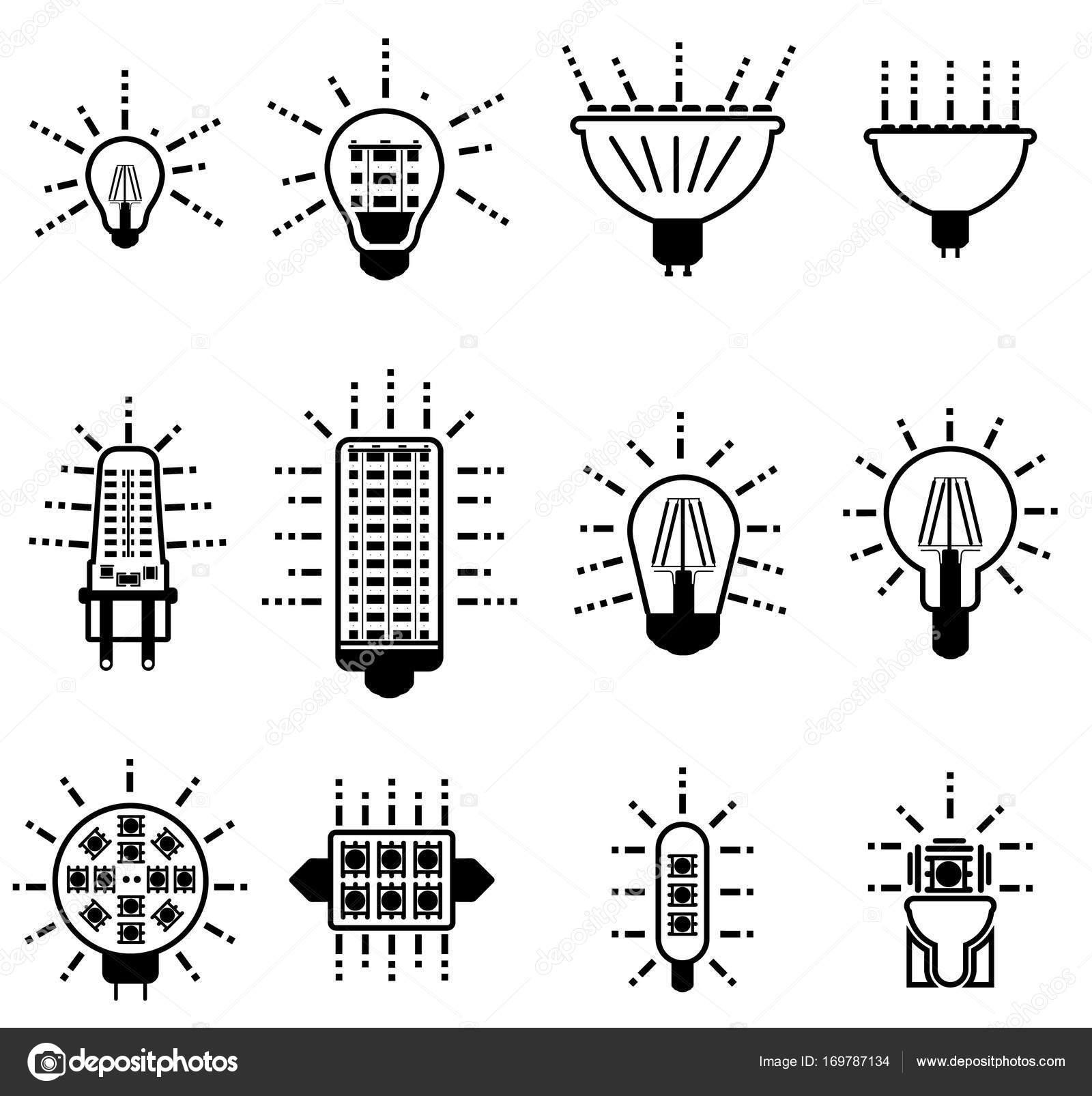Einfache Symbole Glühbirnen led Zeile Symbole — Stockvektor ...