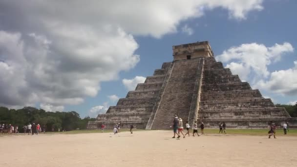 Kukulkan Pyramid in Chichen-Itza, Yucatan, Mexico. Late 2017. This is one of the seven world wonders. The main Pyramid in Chichen-Itza mayan ruins. It shows people walking around and taking pictures in fast motion.