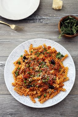 Fusilli pasta and bolognese
