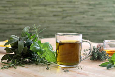 tea with herbs and spices in glass