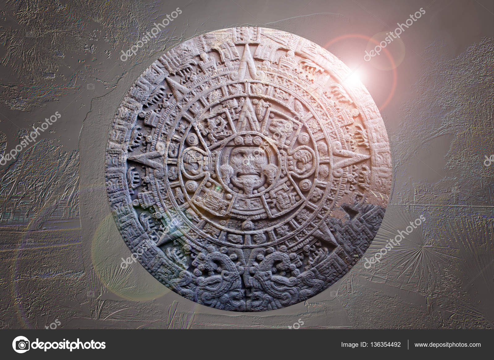 Calendario Antico.Scultura Dell Antico Calendario Maya Foto Stock
