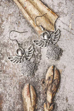 Christmas angel metal earrings