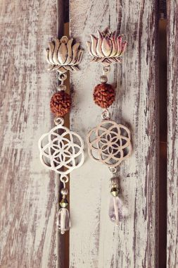 Lovely earrings with rudraksha and stone beads