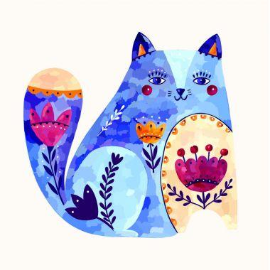 Vector art illustration with cute decorative cat clip art vector