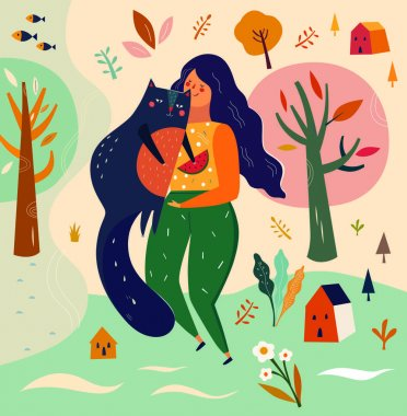 Girl and cat in cartoon style