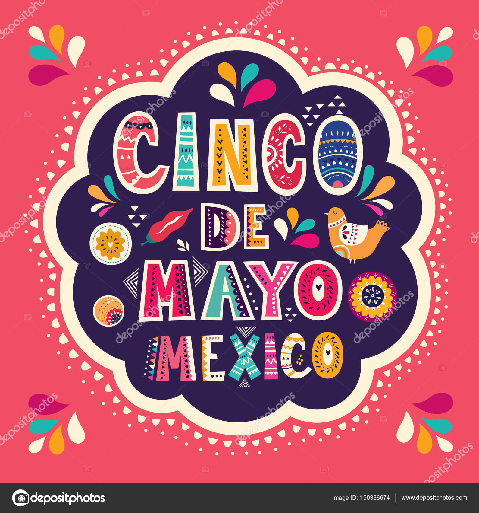 Cico Mayo Holiday Colorful Greeting Card Mexican Symbols Inscription