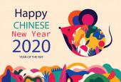 Happy New Year 2020 vektorové logo design. Šťastný Nový rok s roztomilou myší krysa v lidovém stylu. Čínský Nový rok. Pokrytí designu do roku2020. Návrh kalendáře, brožura, katalog, karta, banner, tapety.