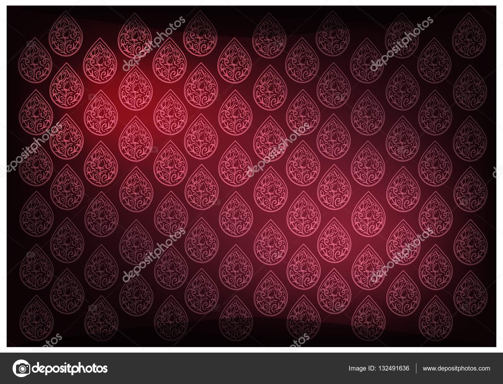 Arriere Plan De Papier Peint Vintage Thai Rouge Avec Motif Foral