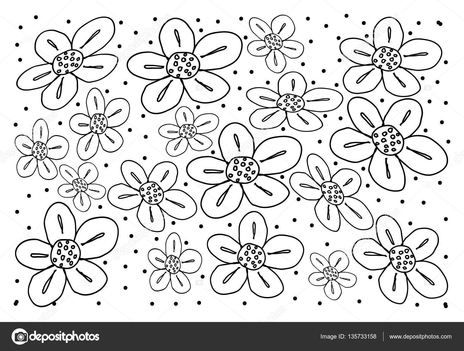 White Vintage Wallpaper With Flower Pattern Background Stock