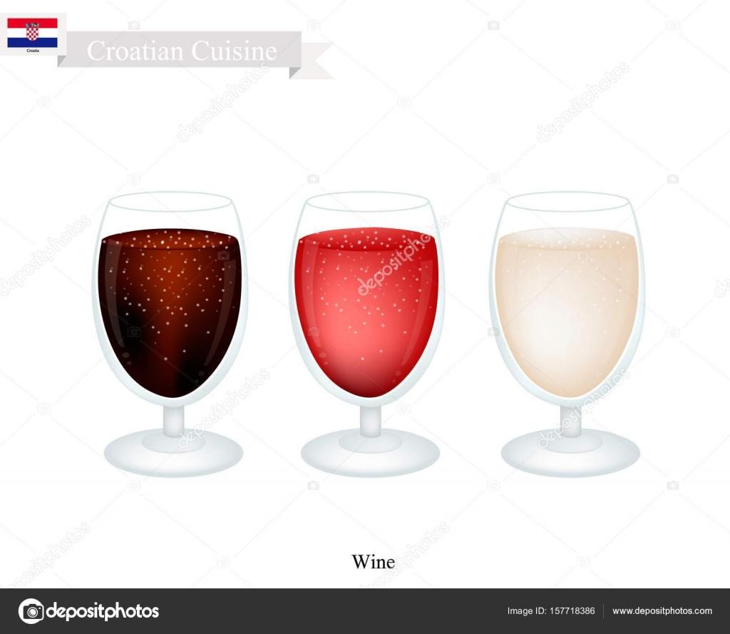 Wein, ein beliebtes alkoholisches Getränk in Kroatien — Stockvektor ...