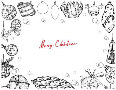 Hand Drawn of Christmas Ornaments Frame on White Background