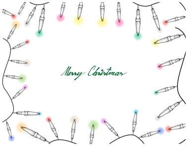 Hand Drawn of Lovely Christmas Lights Frame