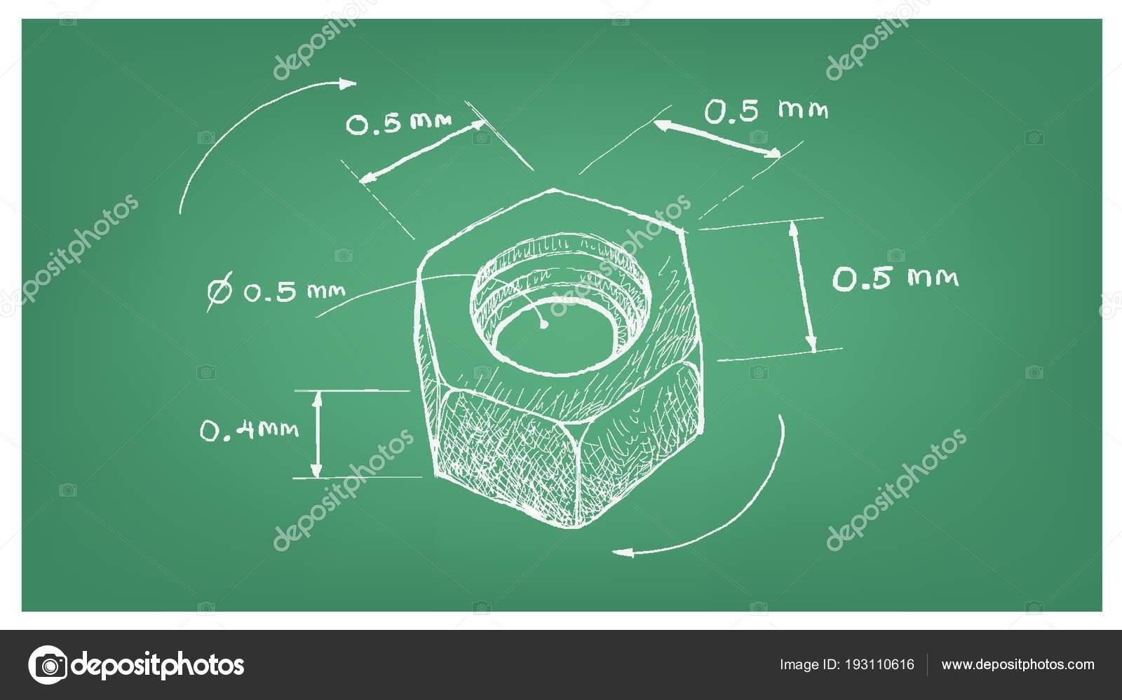 Dimension of hex nut screw on blueprint stock vector iamnee dimension of hex nut screw on blueprint stock vector malvernweather Choice Image