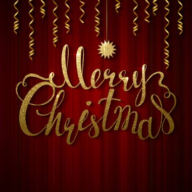Merry Christmas and star greeting card