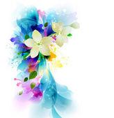 Složení s abstraktní květy