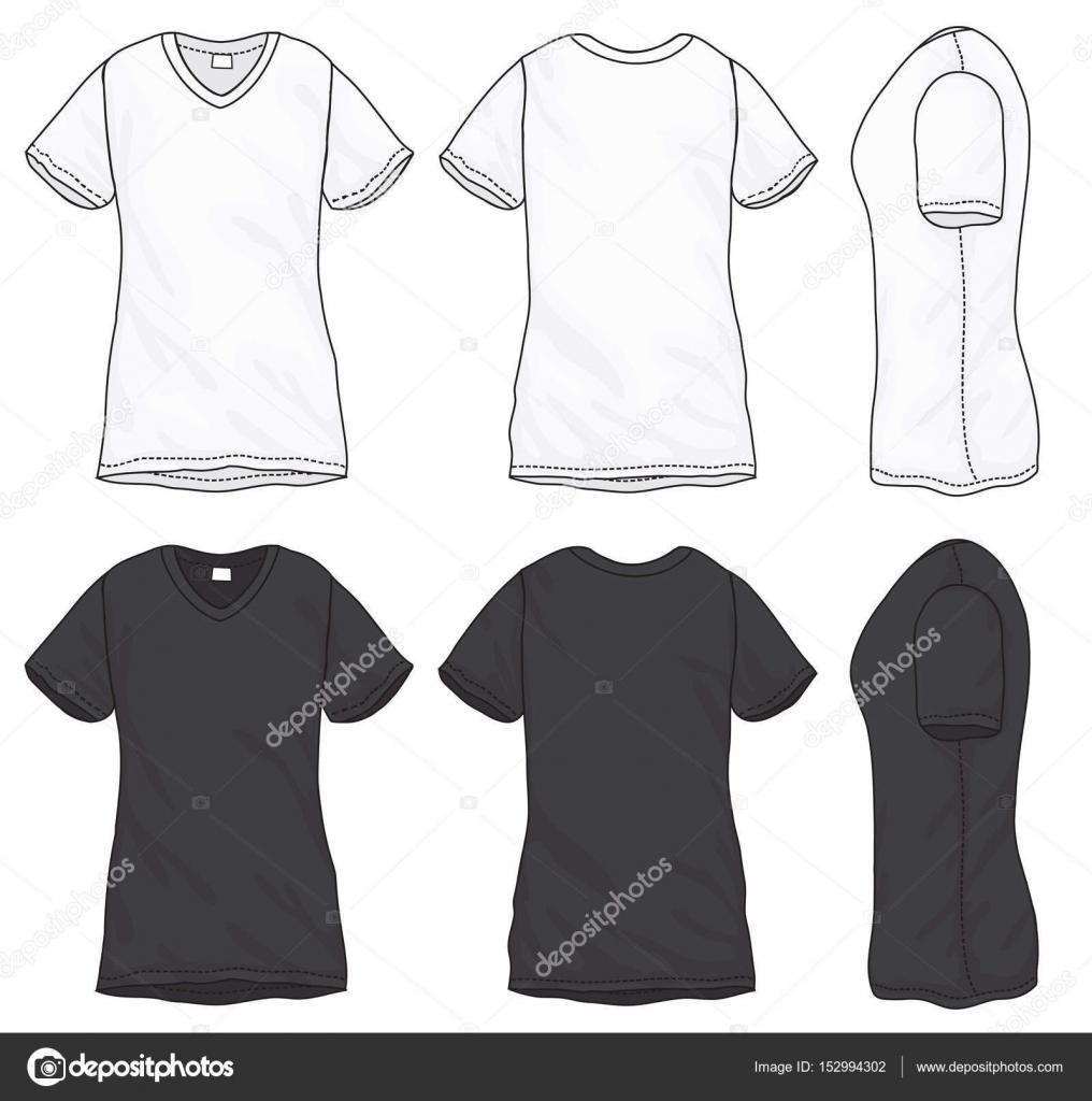 Schwarz weiß V-Ausschnitt T-Shirt-Design-Vorlage — Stockvektor ...