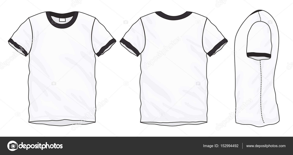 Black White Ringer T-Shirt Design Template — Stock Vector © airdone ...