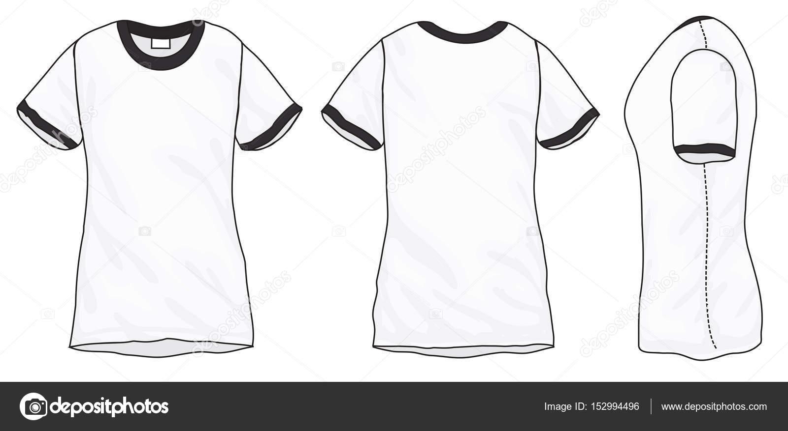 Black White Ringer TShirt Design Template Stock Vector Airdone - Tee shirt design template