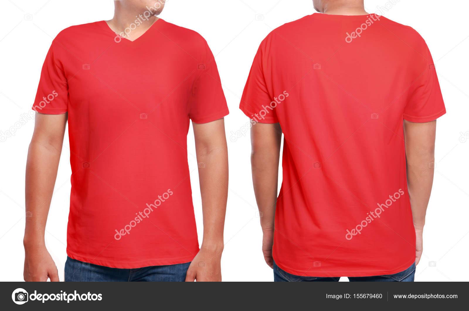 Rot v-Neck Shirt-Design-Vorlage — Stockfoto © airdone #155679460