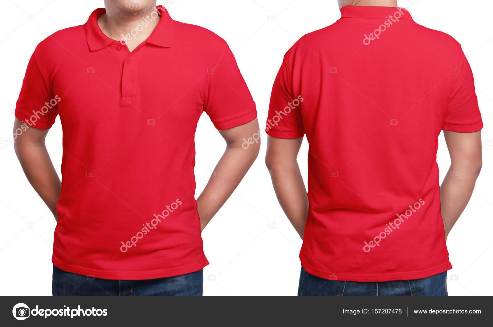 Maqueta de camiseta roja llana de desgaste de modelo masculino. Plantilla  de diseño de la camisa de polo. c214ecc0e0a95