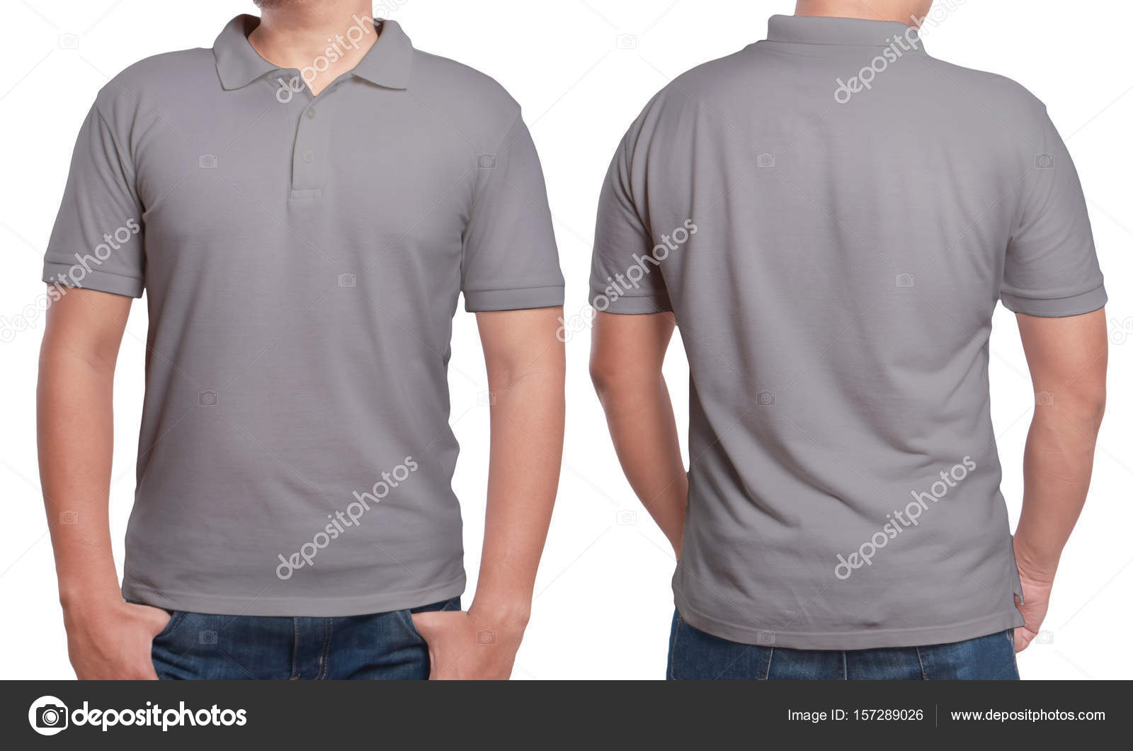 Gray Polo Shirt Mock Front Back View Isolated Male Model Stock