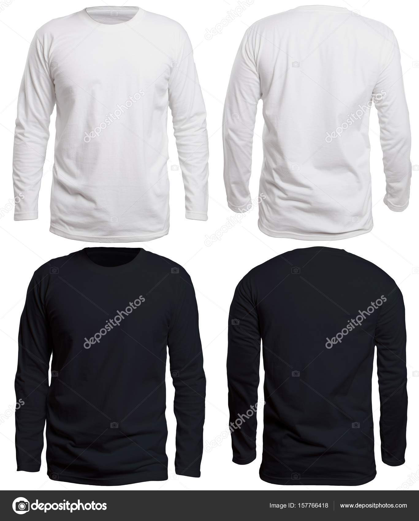 Blank Long Sleve Shirt Mock Up Template Front And Back View Isolated On White Plain Black T Mockup Sleeved Tee Design Presentation