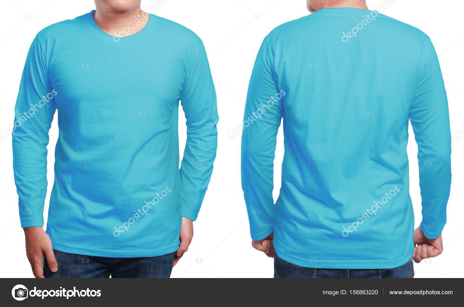 Blue Long Sleeved Shirt Design Template Stock Photo Airdone