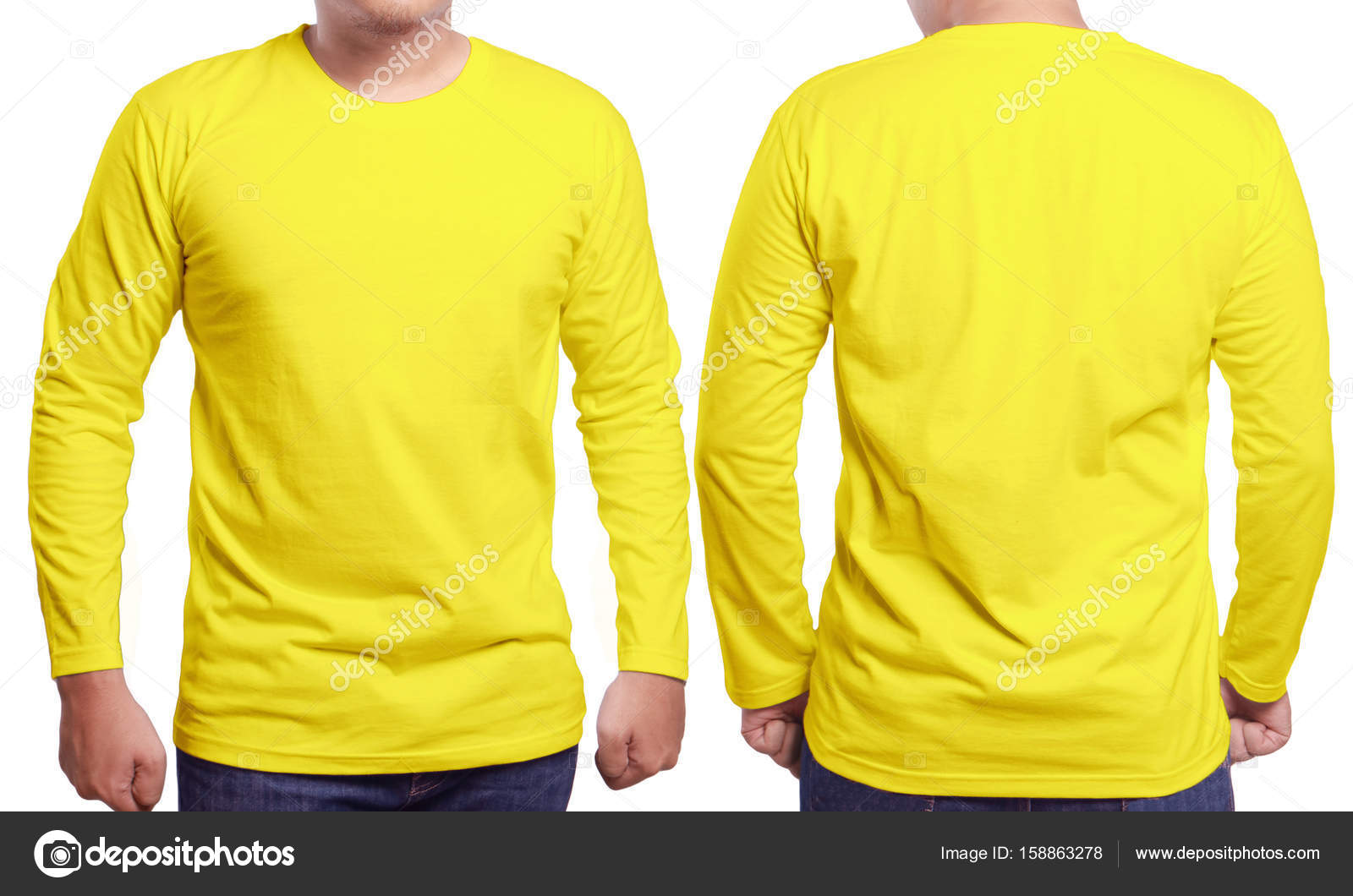Male Model Wear Plain Yellow Shirt Mockup Long Sleeve Design Template Blank Tees For Print Photo By Airdone