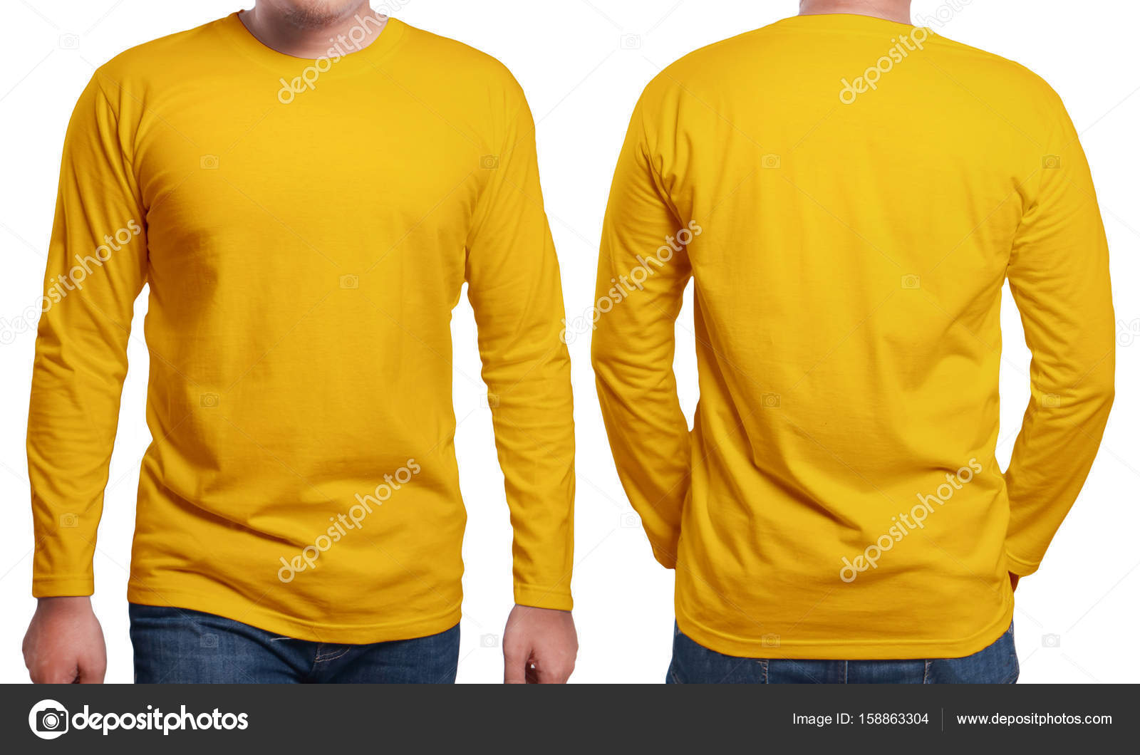 Male Model Wear Plain Orange Shirt Mockup Long Sleeve Design Template Blank Tees For Print Photo By Airdone