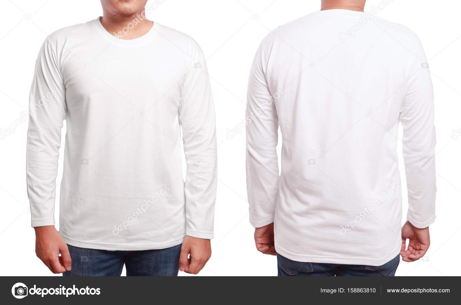 96d6cdf1a Modelo de Design de camisa de mangas compridas longo branco — Stock ...