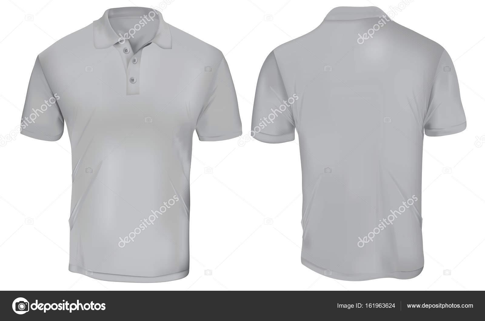 Grey Polo Shirt Template Stock Vector