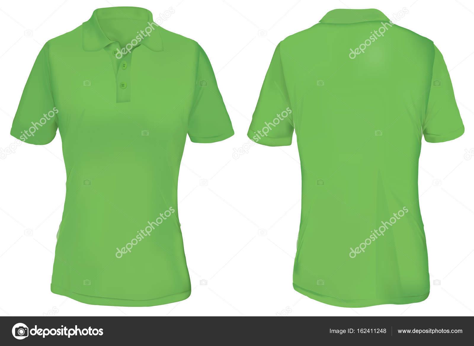 green polo shirt template for woman stock vector airdone 162411248