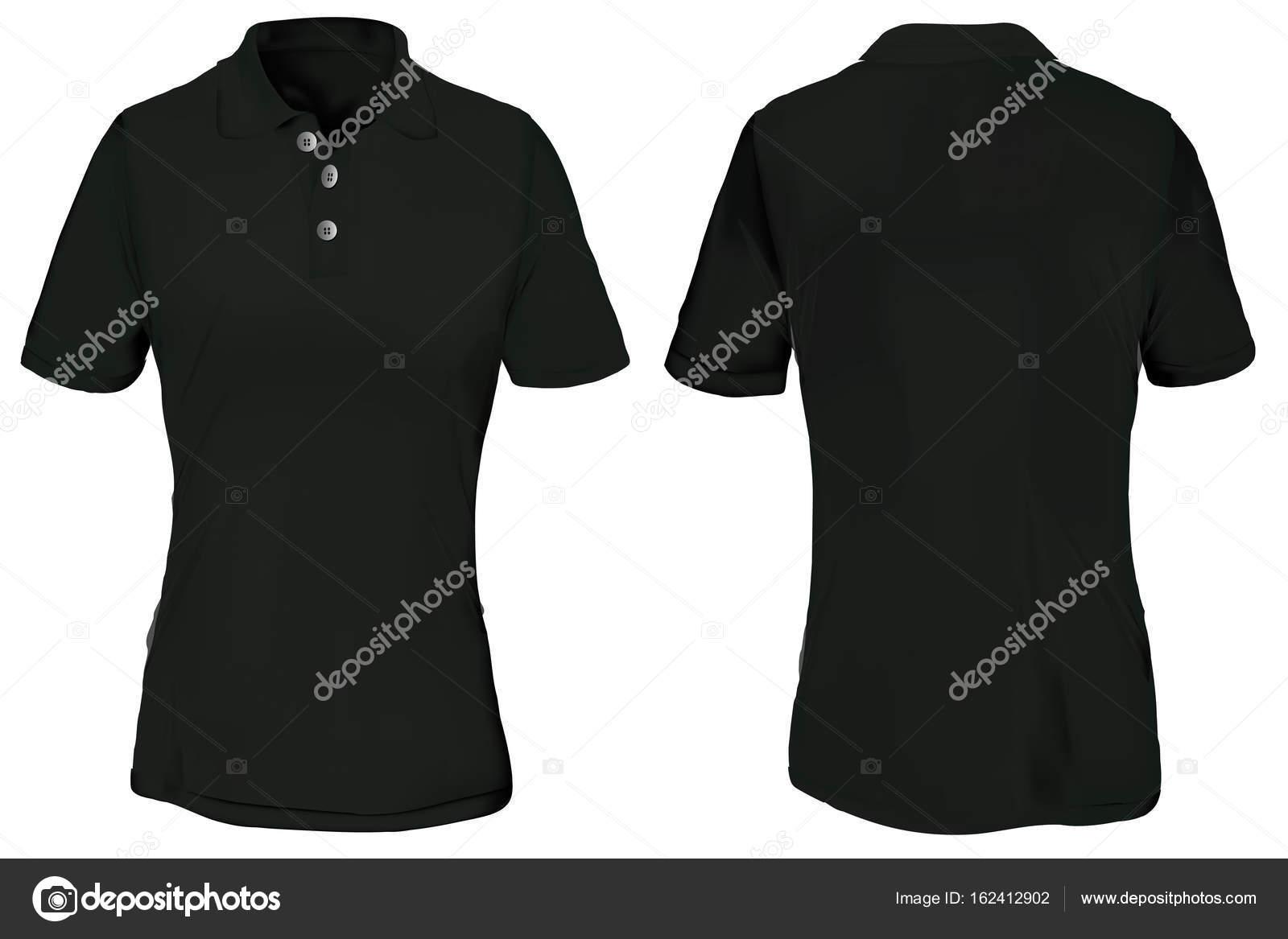 black polo shirt template for woman stock vector airdone 162412902