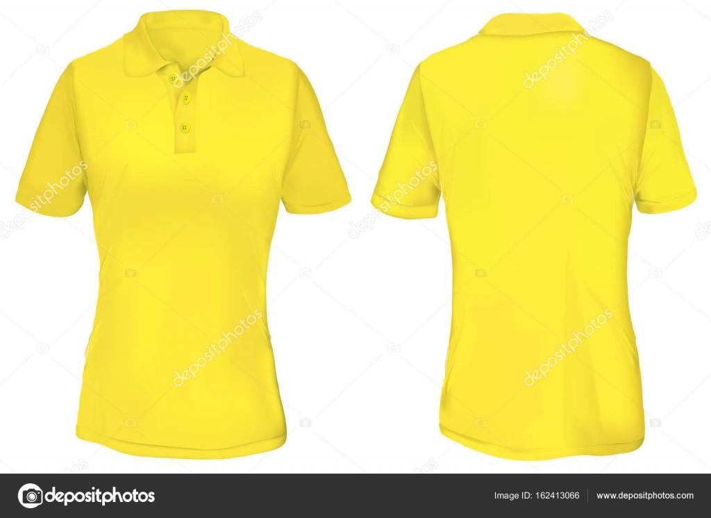 Ilustración de vector de plantilla de camiseta polo amarillo en blanco para  mujer 66197bfd900b5