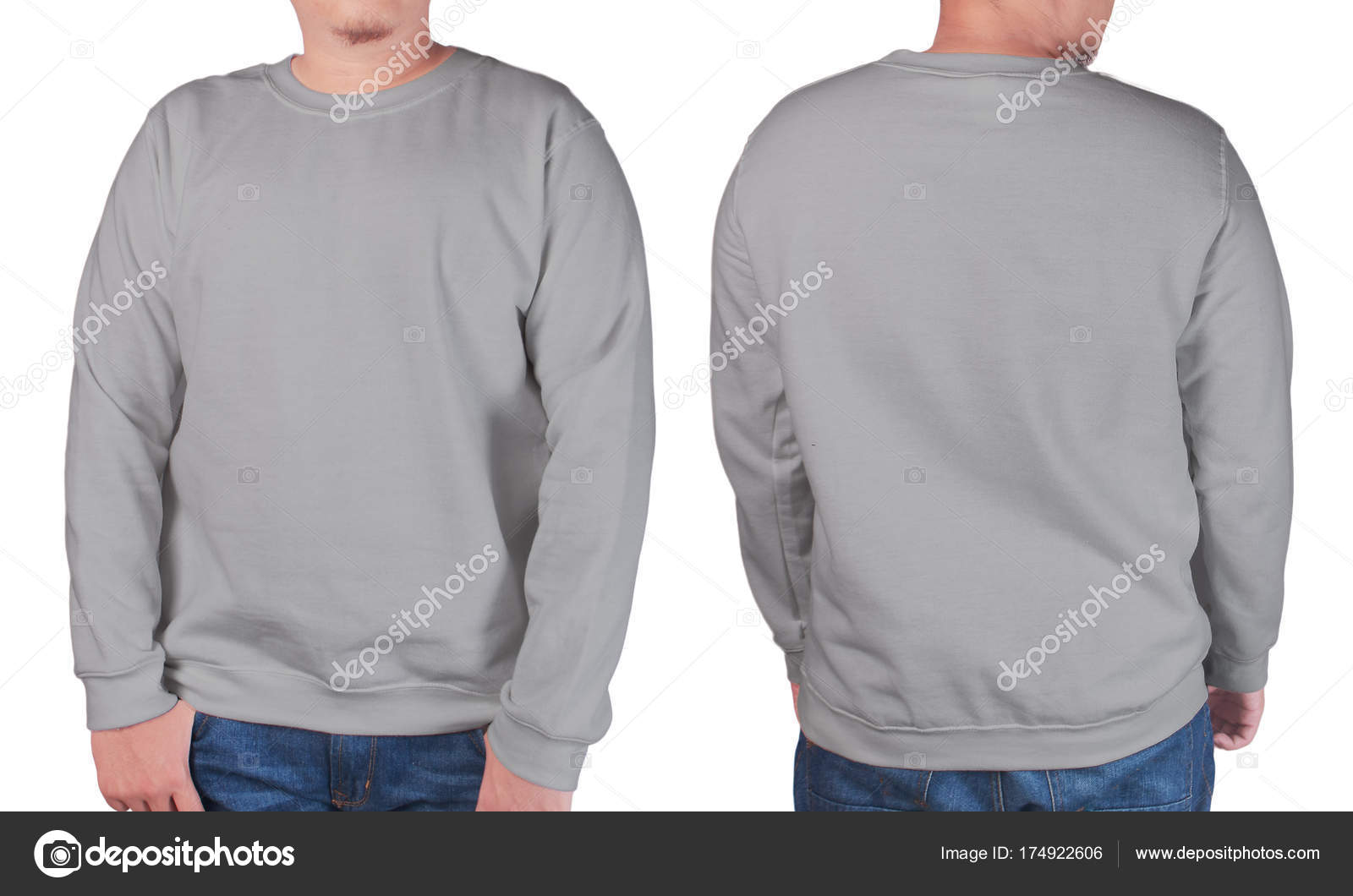Lange Grijze Trui.Grijze Trui Lange Mouwen Shirt Mockup Sjabloon Stockfoto C Airdone